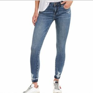 Pistola Audrey Mid Rise Distressed Hem Skinny Jeans in Valencia Size 28